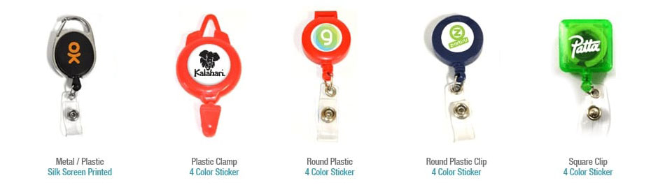 assortment of badge reels